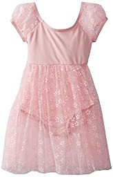 Capezio Little Girls\' Children\'s Collection Empire Puff Sleeve Dress, Pink Flower, Small