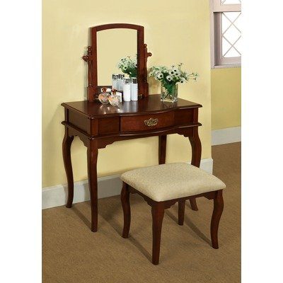 Coreen Vanity Table with Matching Stool Finish: Cherry