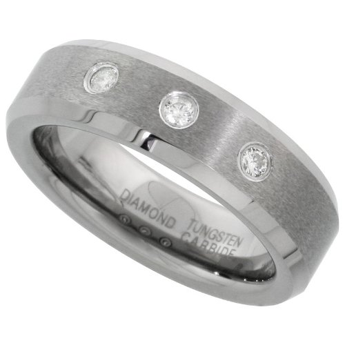 Revoni Tungsten Carbide 3-Stone Diamond 6 mm Wedding Band Ring For Her 0.11 cttw Beveled Edges, size J