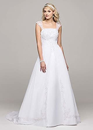 Wedding Dress A-line with Chiffon Split Front Overlay White, 0