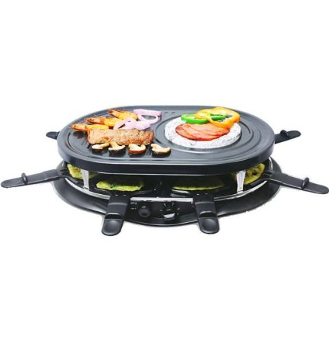syntrox germany 4 in 1 raclette grill fondue hei er stein f r 8 personen raclette grill. Black Bedroom Furniture Sets. Home Design Ideas