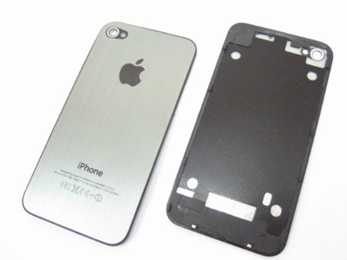 Metal Aluminum Siliver Color ~ Full Back Battery Cover Case Housing for Apple Iphone 4 G 4G with Frame ~ Repair Parts Replacement