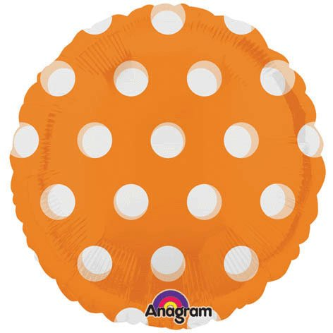 Orange Polka Dot 18 inch mylar balloon
