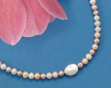 Cultured 5mm Round/10x8mm Coin Pearl Sterling Silver Necklace, 16 + 2 inch Ext