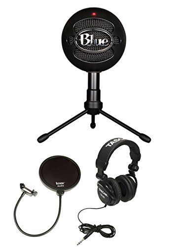 Blue Microphones Snowball Ice Condenser Microphone (Black) with Knox Pop Filter & Studio Headphones (Crystal Ice Weight compare prices)
