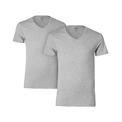 Puma Basic 2P T-Shirt Scollo a V, Grigio Melange, M