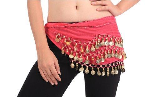 Buy Home Chiffon Dangling Gold Coins Belly Dance Hip Skirt Scarf Wrap Belt (Hot Pink)