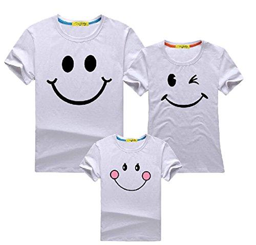 親子ペア服 おそろい服 ペアルック【Tシャツ】 半袖のファミリーTシャツ 5色あり/半袖 お揃い おもしろ 大人 子供 親子ペア ファミリー 家族 ファッション (パパXL, ホワイト)