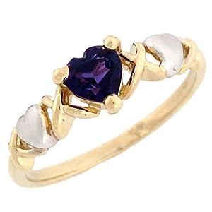 10k Gold Heart Shaped Synthetic Alexandrite June Birthstone Ring