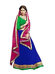Suchi Fashion RoyalBlue & Pink Embroidery Border Work Net Semi Stitched Lehenga