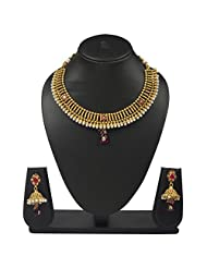 VK Jewels Style Diva Gold Plated Necklace With Earrings- NKS1117G [VKNKS1117G]