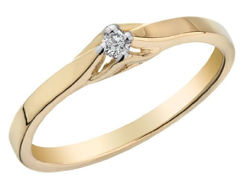 Diamond Promise Ring in 10K Yellow Gold, Size 9.5