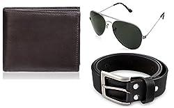 Rico Sordi leather wallet with sunglass & Belt(design-4) (Black) - RSM_36_38_WSGB