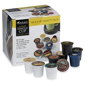 Keurig Flavored Coffee Variety for Keurig Brewers, 60-Count Box, K-Cups, includes BONUS (2) Organic Green Tea Bags!