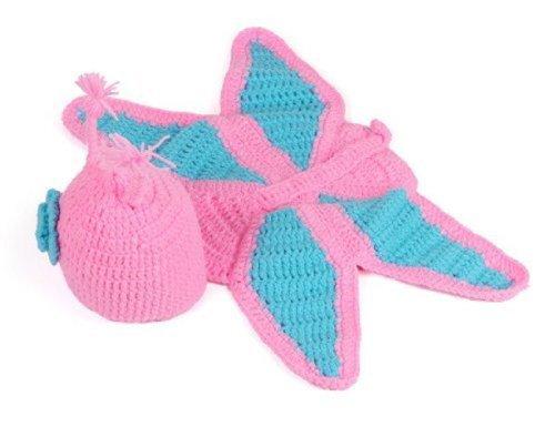 Baby Girl Crochet Butterfly Flower Hat Costume Photographypink&Light Turquoise
