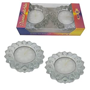 Glass Shabbat Candle Holders, Includes Tealights. Sold 24 Pairs Per Unit.