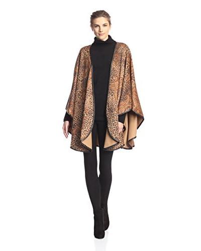 Sofia Cashmere Women's Cashmere Leopard Paisley Cape, Natural, One Size