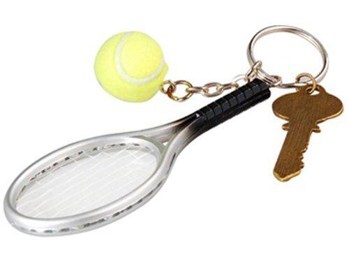 Tennis Racket Key Chain (Silver & Green)