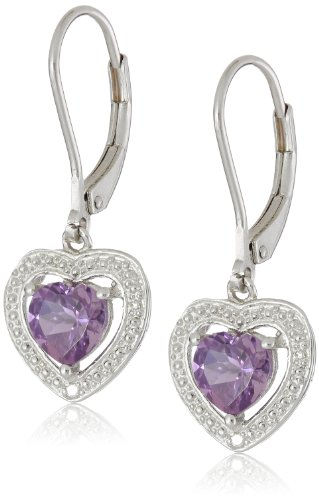 Sterling Silver Amethyst And Diamond Heart Earrings (0.01 Cttw, H-I Color, I3 Clarity)
