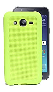 ECellStreet Exclusive Neon Green Rubberised Soft Back Case Cover Back Cover For Samsung Galaxy J2