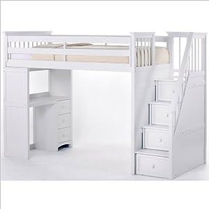 Amazon Com Ne Kids School House Stair Loft Bed In White