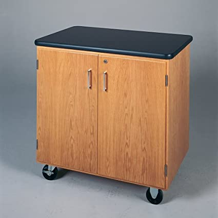 """Diversified Woodcrafts 4402K Solid Oak Wood Mobile Storage Cabinet with Swivel Casters and ChemGuard Top, 500lbs Capacity, 36"""" Width x 36"""" Height x 24"""" Depth, 1 Full Adjustable Shelf"""