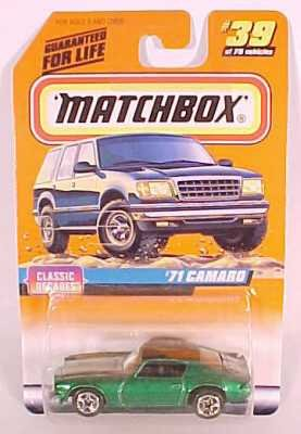 Matchbox 1998-39/75 Series 5 Classic Decades GREEN '71 Camaro 1:64 Scale - 1