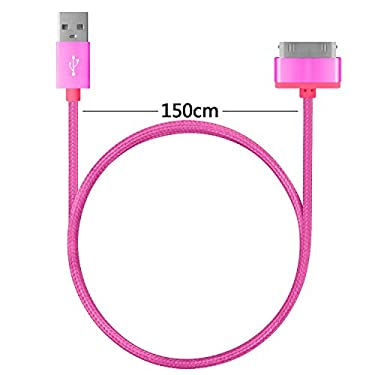 4.5ft Long iPhone 4 Cable,USB Sync and Charging Cable for iPhone 4/4S,iPhone 3G/3GS,iPad 1/2/3,iPod[Blue+white+Pink]