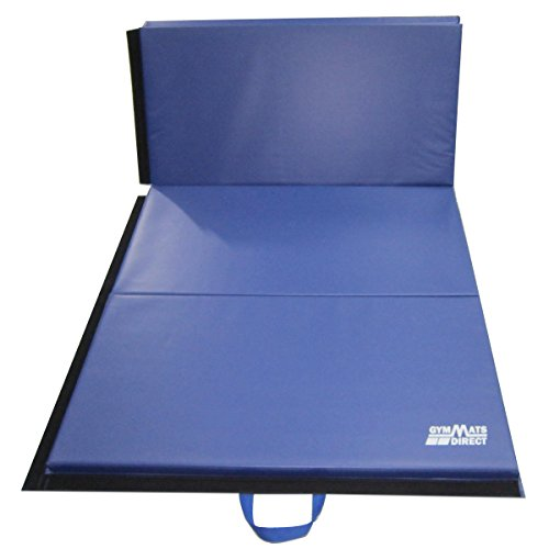 Gymmatsdirect 4'x8'x2 Thick Gymnastics Tumbling Exercise Folding Mats, Highest Quality Vinyl Cloth and EPE Foam Core, Blue gymnastics mat thick four folding panel fitness exercise 2 4mx1 2mx3cm