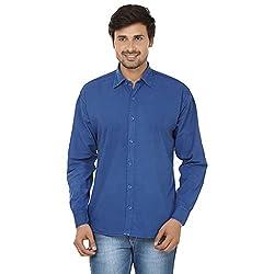 FOCIL Blue Cotton Blend Casual Shirt For Men