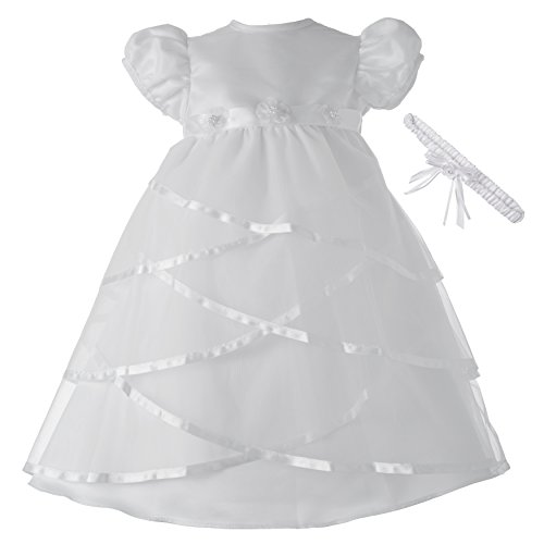 Lauren Madison Baby-Girls Newborn Satin Criss Cross Design Dress Gown, White, 9-12 Months