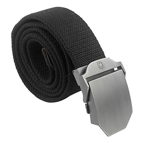 Kobwa(TM) Black Mens Slider Buckle Military Style Long Weave Canvas Web Belt With Kobwa