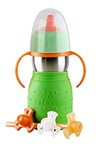 Kid Basix Safe Sippy Cup 2, The Stainless Steel 2-in-1 Sippy Cup and Straw Bottle, Green, 11oz