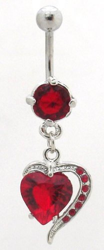 Pierced & Modified - Body Jewellery Belly Bars - Unusual Heart Dangle Navel Bar - Red