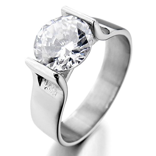 Womens Stainless Steel Rings Wedding Band CZ Silver White Charm Elegant
