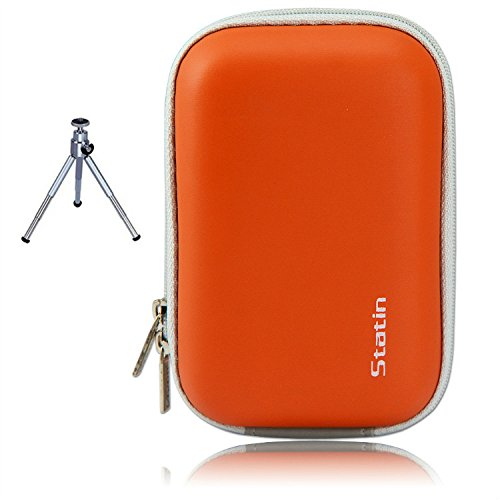 First2savvv BDX1007G6 orange Compact Anti-Schock-Kamera Tasche für SAMSUNG WB850F WB150F WB150 WB750 WB700 EX1 WB250F Nikon COOLPIX P310 P300 S9300 S9200 S9100 S8200 S1200pj S800c S30 AW100 L28 L27 OLYMPUS TG-820 VR-340 VR-360 TG-830 mit Mini-Stativ