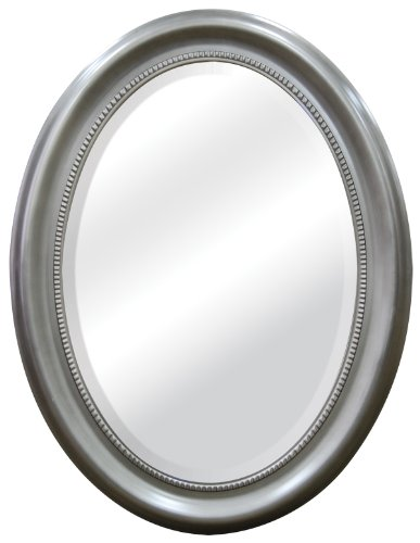 MCS Oval Mirror Frame with Brushed Nickel Finish , 22.5 by 29.5-Inch