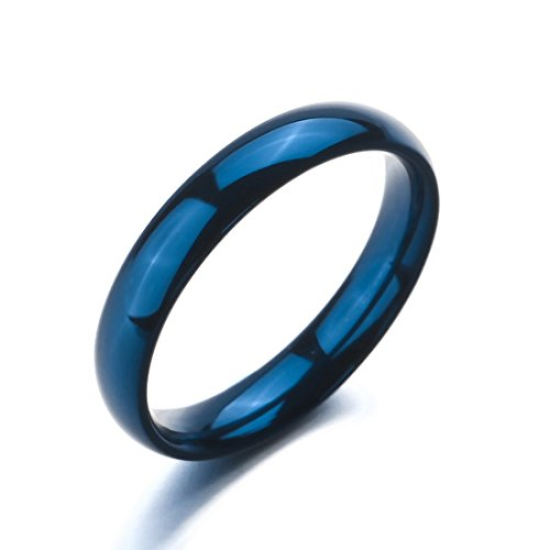 Men,Women'S Wide 4Mm Stainless Steel Rings Band Blue Wedding Polished Size10