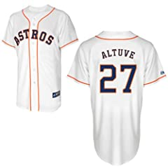 Jose Altuve Jersey: Big & Tall Home White #27 Houston Astros Replica Jersey by Majestic
