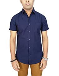AA' Southbay Men's Midnight Blue Linen Cotton Half Sleeve Solid Casual Shirt