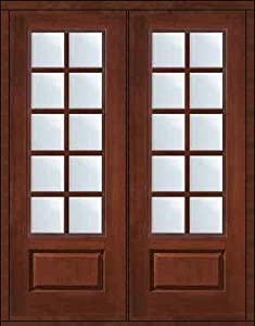 Impact French Double Door 96 Fiberglass 3 4 Lite 10 Lite Sdl Glass 6 3 0 Entry Doors