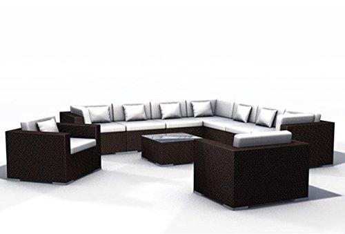 Gartenmöbel Rattan Lounge Espace Set 5a – 9 Sitze Polyrattan, dunkelbraun, inkl. Kissen online bestellen
