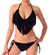 Cloris Murphy Sexy Fringed Bikini Halter Top & Bottom