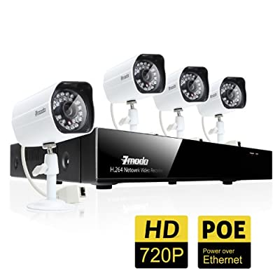 Zmodo 4CH 720P Network Video Recorder w/PoE Security Surveillance System With 4 Indoor/Outdoor Day/Night HD IP Cameras No Hard Drive