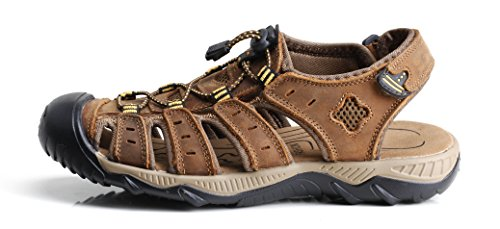 iLoveSIA Men's Leather Walking Sandals Brown US Size 11 - 1