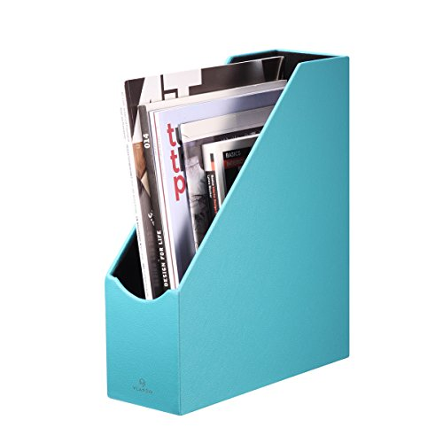Vlando Home Office PU Leather Organizer Collection Magazine File Organizer Holder, Assorted Color (Peacock Blue)
