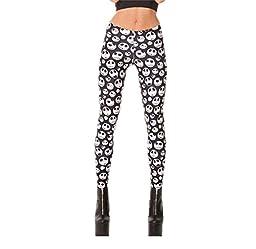 East Knitting Women\'s Sexy Pirate Milk Pants Digital Printing Slim Jack Skellington Leggings