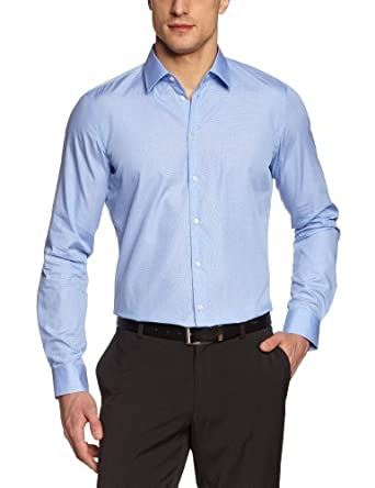Strellson Premium Herren Businesshemd Slim Fit 11002383 / L-Quentin, Gr. 38, Blau (425)