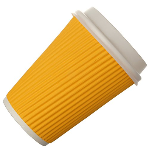 Snapcups Best Disposable Coffee Cups to Go - Premium Hot Paper Cup With Lids 12 Oz, (50 Count), Yellow - Perfect for Ripple and Insulated Cups - No Soaking or Smells - No Sleeves Needed