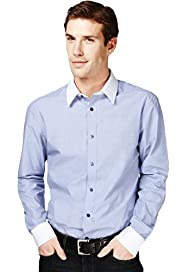 Autograph Pure Cotton Slim Fit Plain Shirt